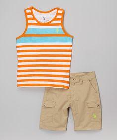 Orange Sunset Stripe Tank & Khaki Shorts - Toddler