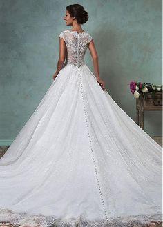 Gorgeous Lace V-neck Neckline A-line Wedding Dresses with Beaded Lace Appliques