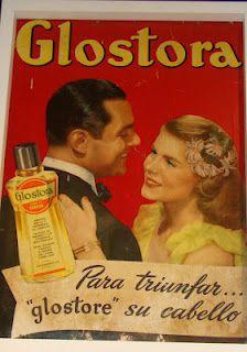 anúncio de Glostora, óleo para o cabelo