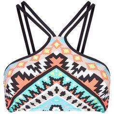 Seafolly Strap T-Bar Bikini Top ($86) ❤ liked on Polyvore featuring swimwear, bikinis, bikini tops, bikini, tops, bikini top, swim tops, strappy bandeau bikini, aztec bikini top and bandeau swim tops