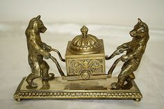 Antique Bronze or Brass Bear Inkwell Inscribed and Dated 1885 | eBay