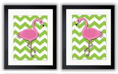 INSTANT DOWNLOAD Pink Flamingo Pair Art Child Art Nursery Art Print Set of 2 Girls Lime Green Kids Room Wall Decor Nursery Baby Printable by PrintsWallArt on Etsy