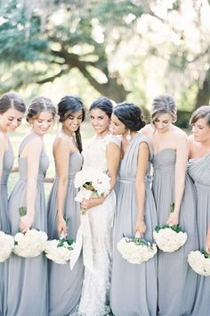 slate grey bridesmaid dresses - brides of adelaide