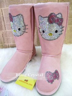 Hello Kitty BLING Wool Boots. Too cute for words! On Etsy for $179