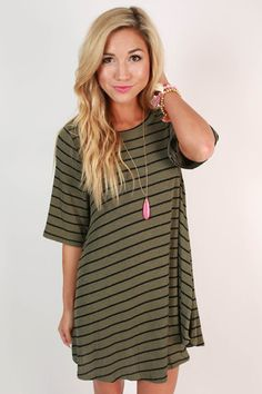 Paris Stripe Shift Dress in Army Green – Impressions Online Women's Clothing Boutique