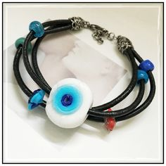 "✨""Nazur  Boncuk"" Evil Eye Leather Bracelet✨ ✨Beautiful Handmade Leather With Silver And Glass Beads✨Nazar Boncugu in Turkish refers to a very traditional item in Turkey, it's a blue bead used as a talisman which is beleived that it would protect you against the evil-eye✨The evil-eye superstition comes from very early times and it can be found in most of the cultures in the world✨if this Nazar bead breaks for whatever reason, it's beleived that it worked and protected you from some evil-eye…"