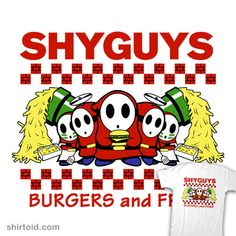 Shy Guys, as they're called, are some goofy enemy characters from the Super Mario series of video games. An (I think) adorable play on Five Guys. Gotta love that proper punctuation, too! Super Mario Art, Super Mario World, Video Games Funny, Funny Games, Burger And Fries, Burgers, Just Video, Shy Guy, Five Guys