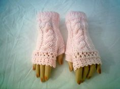 Victoria Open Lace Fingerless Gloves Hand Knitted and Crochet