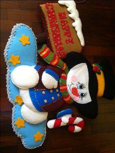 RETO DE FIELTRO 2013♥♥♥♥ CERRADO.......... Christmas Crafts, Christmas Decorations, Christmas Ornaments, Holiday Decor, Snowman, Embroidery, Halloween, Gifts, Ideas