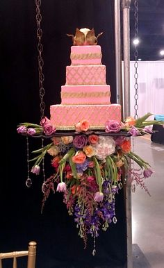 Cake by Cheesecake Etc,  flowers by The Flower Diva Inc for Planned Perfection bridal showcase booth.  Charlotte NC 2015.