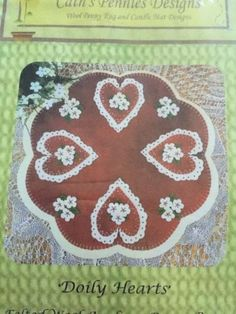Dolly-Hearts-Candle-Mat-wool-applique-kit-15-034-round-penny-rug-designs