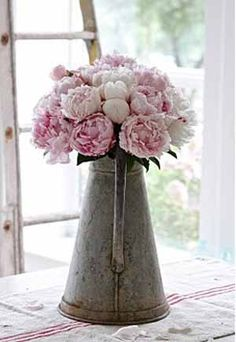 Pink peonies in galvanised metal jug - would make a lovely wedding centrepiece for country garden wedding #wedding