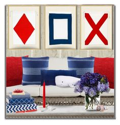"""Red...white,,,blue"" by helia ❤ liked on Polyvore featuring interior, interiors, interior design, home, home decor, interior decorating, Pottery Barn, Tommy Hilfiger, Thro and John-Richard"