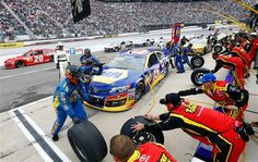 Clint Bowyer, driver of the #15 NAPA Filters Toyota, pits  (Getty Images)