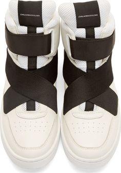 Johnlawrencesullivan White Leather High-Top Sneakers