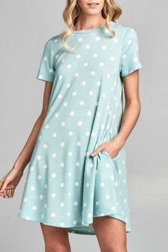 Super cute summer dress! it's simple and you can easily be worn when you go shopping, getting some food, or just hanging out. Nu Label Polka Sweet Dress  #dress #polkadot #blue #outfits #summer #summerdress #affiliate