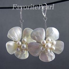 Pearl Earrings - White Color Natural Freshwater Pearl Shell Flower Dangle