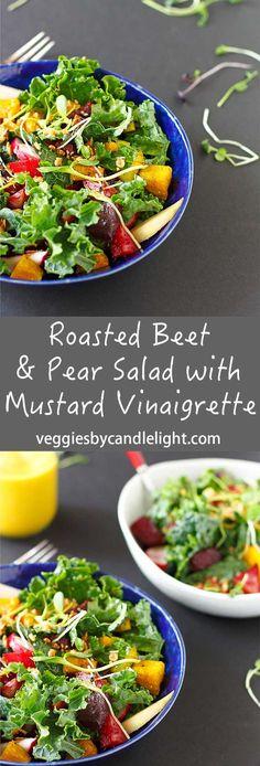 Roasted Beet + Pear Salad with Mustard Vinaigrette - A roasted beet salad that…