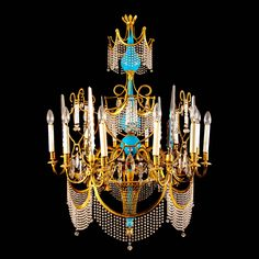 A Russian Ormolu, Cut Glass and Turquoise Porcelain Twelve-Light Chandelier   From a unique collection of antique and modern chandeliers and pendants at https://www.1stdibs.com/furniture/lighting/chandeliers-pendant-lights/