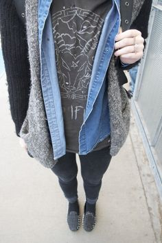 layers & spiked loafers