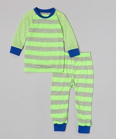 Love this Neon Lime & Gray Stripe Pajama Set - Infant, Toddler & Boys by Cat & Cow on #zulily! #zulilyfinds