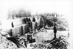 Warsaw, Poland, Building the ghetto wall. Jews were forced to build the walls that would lock them in