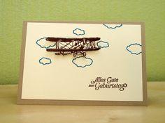 Gratulations-Doppel-Karte. Geburtstag. Flugzeug. Wolken. 3D. Stampin Up.
