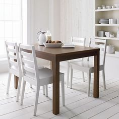 Form White Side Chair and Brown Cushion in Dining Chairs | Crate and Barrel