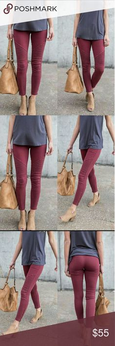 Burgundy Moto Jeggings Burgundy Moto Jeggings with Ankle Zipper. Also have in Gray and Black (see separate listing). Pants Leggings