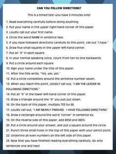 Can you follow directions. I had a test just like this in my Sociology of Deviant Behavior class.