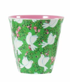 Rice DK Two Melamine Cups | Green Doves