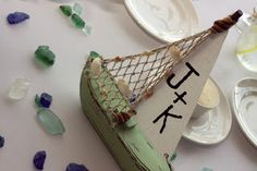 Personalized sailboat table number for the bride and groom!  Beach wedding theme. #wychmere