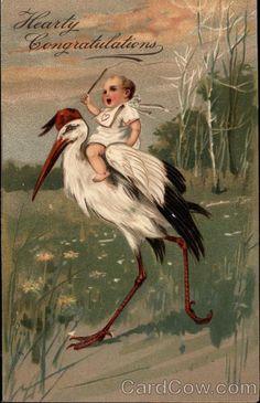 Stork Bringing Baby Series 6289 Hearty congratulations