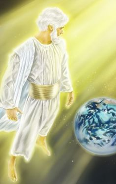 From heaven, Jesus considers the earth and all mankind in need of God's love.HD.