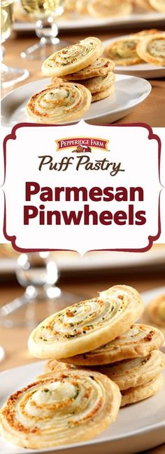 Pepperidge Farm Puff Pastry Parmesan Pinwheels Recipe. Fresh herbs and Parmesan cheese are rolled up in Puff Pastry, sliced and baked until golden. This easy technique makes appetizers at a moment's notice to please all your holiday guests. Also see the sweet variations to make this foolproof recipe into chocolate or cinnamon treats as well.