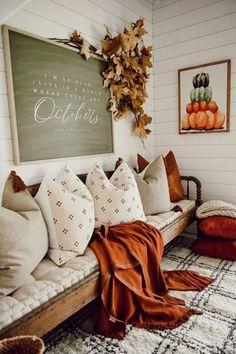 Adding an Autumn Message - Fall Living Room Decor Ideas Fall Home Decor, Autumn Home, Fall Apartment Decor, Fall Bedroom Decor, Modern Fall Decor, Fall Kitchen Decor, Rustic Fall Decor, Entryway Decor, Entryway Bench