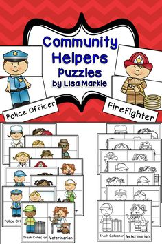 Explore 16 different community helpers with these three piece puzzles! Great for a fine motor activity for preschool or a sight word activity for kindergarten! Print, cut, and laminate the pieces for a literacy center activity. Community helpers include a baker, crossing guard, dentist, detective, doctor, farmer, firefighter, gardener, janitor, librarian, mail carrier, plumber, police officer, teacher, trash collector, and veterinarian! Color and black and white versions both included…