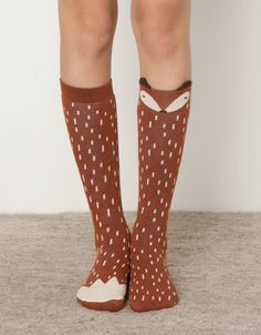 Knee high socks with an adorable red fox design! Calzino alto volpe - Calzini - Accessori - Italia