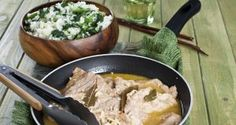 Bifanas à portuguesa com arroz de grelos