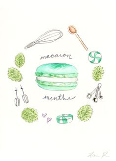Mint Macaron Recipe - Hand-painted Watercolor print 5 x 7 - Paris French Laduree Herme Bakery Menthe