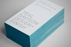 Coloured edges and engraved lettering - Teal Davison - edge painted business cards Embossed Business Cards, Cool Business Cards, Creative Business, Name Card Design, Bussiness Card, Business Card Design Inspiration, Graphic Design Branding, Identity Design, Painting Edges