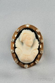 vintage cameo jewelry | Antique 18kt Gold and Hardstone Cameo Brooch | Sale Number 2575B, Lot ...