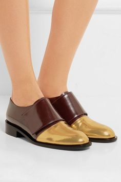 Heel measures approximately 30mm/ 1 inch Burgundy and gold leather (Calf)…