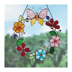 Glass Flower & Butterfly Wreath