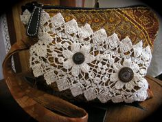Romantic Bohemian Clutch, vintage doily with Wrist Strap handmade by GrandmaDede