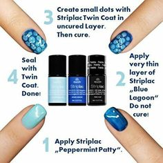 Here's how to do Striplac Peel-Off Gel Polish nail art in 4 easy steps with Peppermint Patty and Blue Lagoon