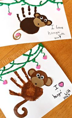 Handprint Monkey Valentine Craft for Kids