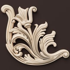 3d model classical ornamental interior wall