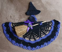 Adorable and witchy!! ♥ NEW Crochet Witch Crinoline Doily OOAK