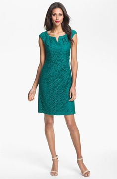 Adrianna Papell Lace Sheath Dress available at Nordstrom $138.  Won't actually fit me, since it has a high bustline